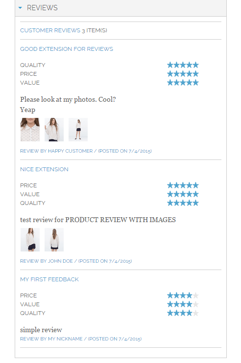 Thumbnail images on customer review list in Magento