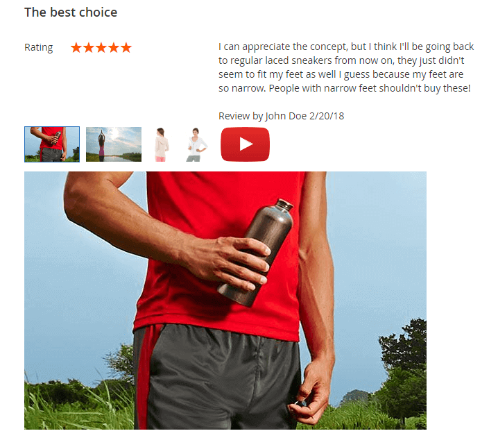 Product review with images and video. Large view mode